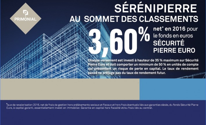 Rendement fonds euros 2016 Assurance Vie Primonial Sérénipierre